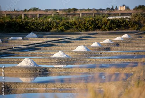 Obraz na plátně Tas de sel dans les marais salant de l'île de Noirmoutier en France