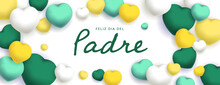Feliz Dia Del Padre Sous Forme De Carte Ou Bannière, Poster Ou Flyer, Avec Des Losanges Et Coeurs Jaunes, Vert Et Blancs
