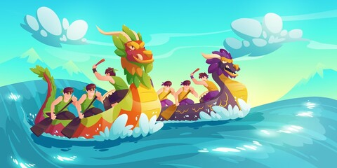 Fototapeta na wymiar Dragon boats in the sea with people illustrations background