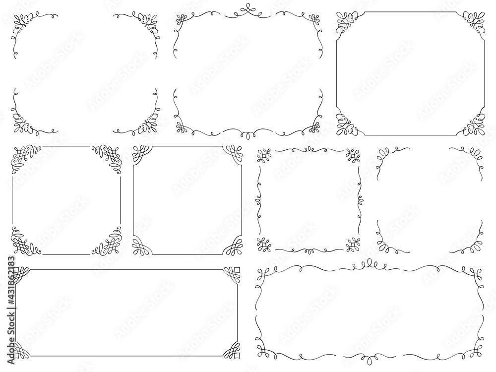 カリグラフィー線装飾フレームセット(横長方形・正方形)