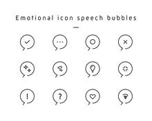 色々な感情アイコンのふきだしセット 気持ち 絵文字 シンプル 閃き 驚き 電球 汗
