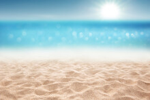 Tropical Summer Sandy Beach Focus Area And Bokeh Sun Light On Blurry Sea Background Summer Time Concept Background