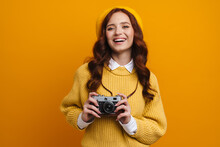 Happy Young Woman With Long Red Hair In Sweater