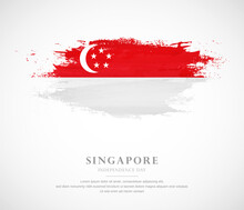 Abstract Watercolor Brush Stroke Flag For Independence Day Of Singapore