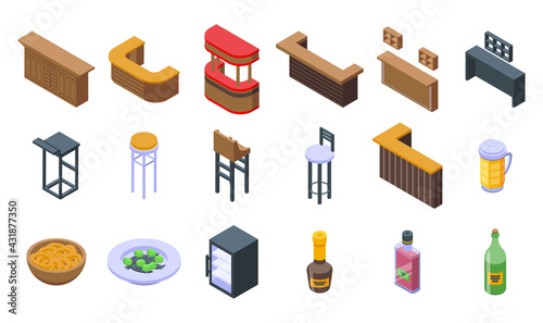 Obraz Bar counter icons set. Isometric set of bar counter vector icons for web design isolated on white background - fototapety do salonu