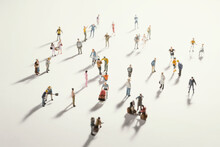 Top View Of People (miniature Toys) With Long Shadows Keep Distance Away In Public During Sunrise Or Sunset.Social Distancing During COVID-19 Coronavirus Outbreak Spreading Concept.