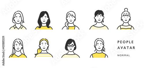 女性の上半身アイコンのイラスト素材 - fototapety na wymiar