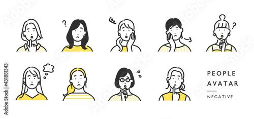 ネガティブな顔の女性の上半身アイコンのイラスト素材 - fototapety na wymiar