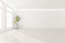 3d Render Of Modern Empty Room With Vase Of Plant On Wooden Floor.