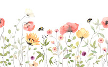 Floral Summer Horizontal Pattern With Colorful Wildflowers, Flying Bumblebee And Butterfly. Watercolor Isolated Illustration Wallpapers, Border, Meadow Or Floral Background For Your Design.