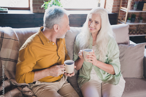 Obraz Photo of happy positive cheerful old woman and man sit sofa drink coffee good mood indoors inside house - fototapety do salonu
