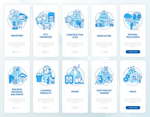 Indoor And Ambient Air Pollutants Onboarding Mobile App Page Screen With Concepts Set. Contagion Walkthrough 5 Steps Graphic Instructions. UI, UX, GUI Vector Template With Linear Color Illustrations