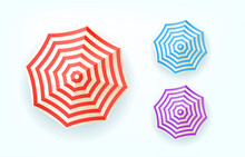 Color Umbrellas Top View. Vector Set Isolated Om Whita Background