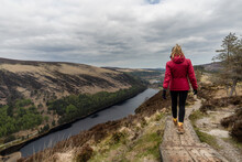 Woman Traveler In A Red Jacket In The Spink Viewing Spot In Wicklow Mountains National Park, Ireland