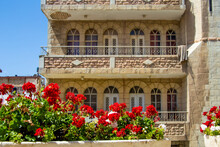 Jerusalem, Israel -28 April 2021: Part Of Fasade Of Austrian Hospice Of Holy Family, Refuge For Itinerant Pilgrims, Was Opened In 1854 By The Catholic Church Of Austria In Holy Land. Selective Focus