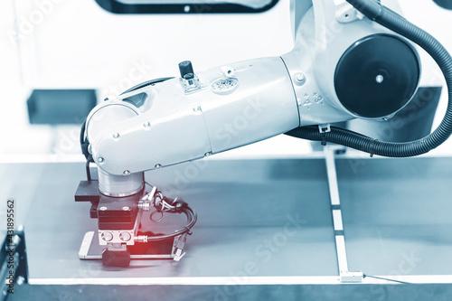 Fototapeta intelligence machine working in phone factory obraz