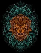 Illustration Vector Lion Head With Vintage Mandala Ornament