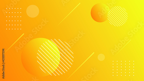 Fotografie, Obraz Abstract orange geometric background with orbs