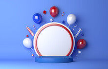 Russia Day Display Podium With Balloon Firework, Kings Day, Bastille Day, 3d Rendering Illustration