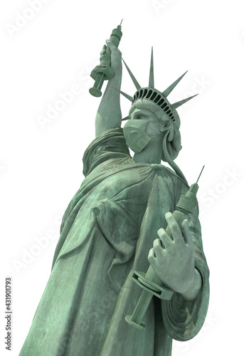 masked statue of liberty presenting covid vacine and sringe, isolated - fototapety na wymiar