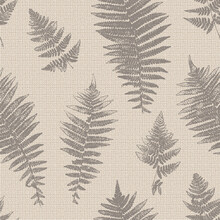Natural Fern Leaf Print Silhouettes. Floral Background With Imitation Linen Burlap Texture. Stamp Leaves Vector Seamless Pattern. Textured Forest Plants Imprint Vintage Wallpaper. Brown Beige Color