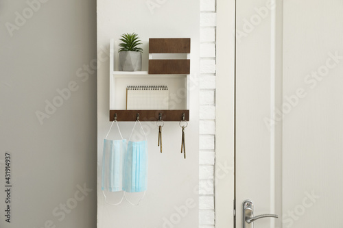 Hanger for keys with protective masks, houseplant and notebook on shelves near door in hallway