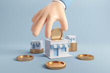 Businessman Hand Put A Coin In A Store, Franchise Business Growth With Earning Money. 3d Render.