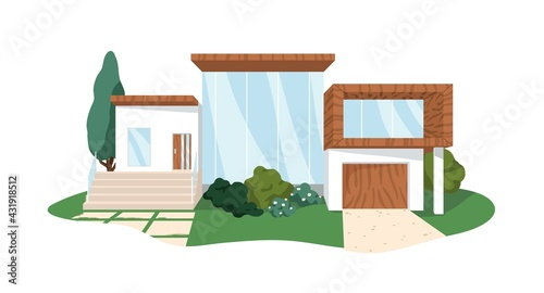Modern block house architecture from wood and glass. Villa building exterior. Front view of private home with door and windows. Colored flat graphic vector illustration isolated on white background - fototapety na wymiar