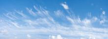 Des Nuages Blanc Au Printemps étirés Sur Fond De Ciel Bleu