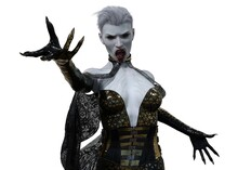 Vampire Woman Isolated On White Background 3d Illustration