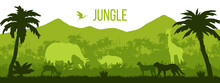 Jungle Vector Forest Silhouette Background, Tropical Rainforest Landscape, Tree Outlines, Leopard, Rhino. Africa Wildlife Nature Illustration, Elephant, Giraffe, Palms. Jungle Green Silhouette Clipart