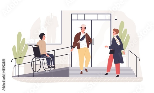 Person on wheel chair moving to accessible building entrance with ramp. Wheelchair-friendly city environment. Disabled people inclusion concept. Flat vector illustration isolated on white background - fototapety na wymiar