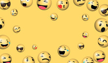 Laughing Emoji. Social Media Message Vector Background. Copy Space For A Text