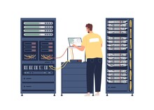 Sysadmin Repairing And Adjusting Network Connection. System Administrator Working With Server Rack Cabinets And Computer. Colored Flat Graphic Vector Illustration Isolated On White Background