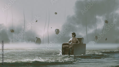 man sitting on armchair in the sea with rocks floating in the sky, digital art style, illustration painting