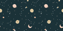 Lovely Hand Drawn Space Seamless Pattern With Bunnies, Planets And Stars, Cute Background, Great For Textiles, Bed Linen, Wallpapers, Banners, Wrapping - Vector Design