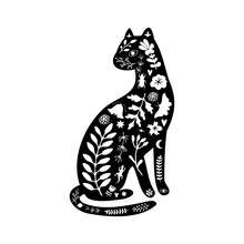 Black Silhouette Of Cat With White Floral Elements.