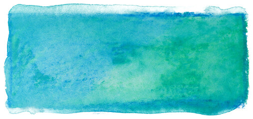 Watercolor stain rectangle background green blue