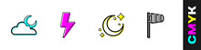 Set Cloud With Moon, Lightning Bolt, Moon And Stars And Cone Windsock Wind Vane Icon. Vector