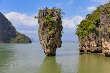 Khao Ta Pu island, khaopinggan island or james bond island tourist attraction at phangnga in thailand