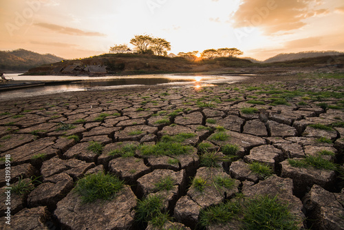 Fotografie, Tablou Image of the drought ground.Problems arising from global warming.