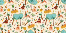 Vector Seamless Pattern With Women In Swimsuit On Tropical Beach. Summer Holliday, Vacation, Travel.