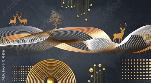 3d modern mural art wallpaper . golden wavy lines and golden tree and deer . golden circles, lines and balls in dark background