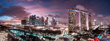 SINGAPORE - JANUARY 3, 2020: Sunset Aerial View Of Singapore From Drone, View From Gardens By The Bay