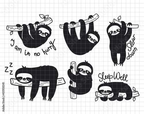Naklejka premium Sloths bundle. Cute baby animals sleeping, hanging, and smiling. Silhouette vector flat illustration. Cutting file. Suitable for cutting software. Cricut, Silhouette