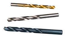 Set Of Various Sharp Drill Bits Isolated On A White Background. Three Drilling Cutters. Golden - Titanium Coated, Silvered And Blue Of Carbon Alloy Steel. Spiral Fluted Cutting Tools. Chip Machining.