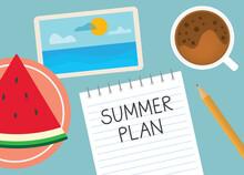Summer Plan Written In Notebook- Vector Illustration