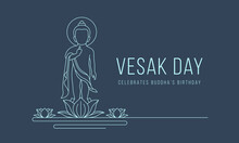 Vesak Day Banner With Abstract Modern Line Drawing Baby Buddha Stood On The Lotus Flower Vector Design