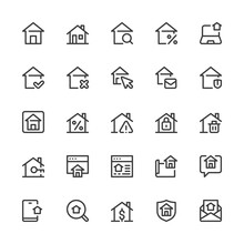 Simple Interface Icons Related To Real Estate. Realty, Property, Home Loan. Editable Stroke. 32x32 Pixel Perfect.