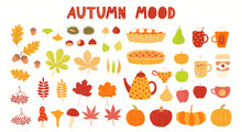 Autumn Elements Clipart Set, Leaves, Berries, Food, Apple, Pumpkin, Isolated On White. Hand Drawn Vector Illustrations Collection. Scene Creator Scandinavian Style Flat Design. Concept For Kids Print